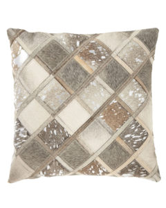 grey and silver calf hair accent pillow