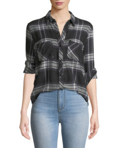 black and dark green plaid button up shirt