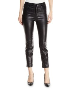 black high rise coated cropped jean