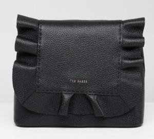 black leather ruffle backpack