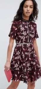 maroon applique skater dress