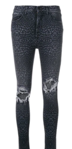 blue leopard print skinny jeans with ripped knees