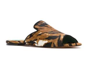 tiger print slide sandals