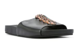 black slide sandal with brass spine detail