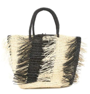 black and tan straw tote