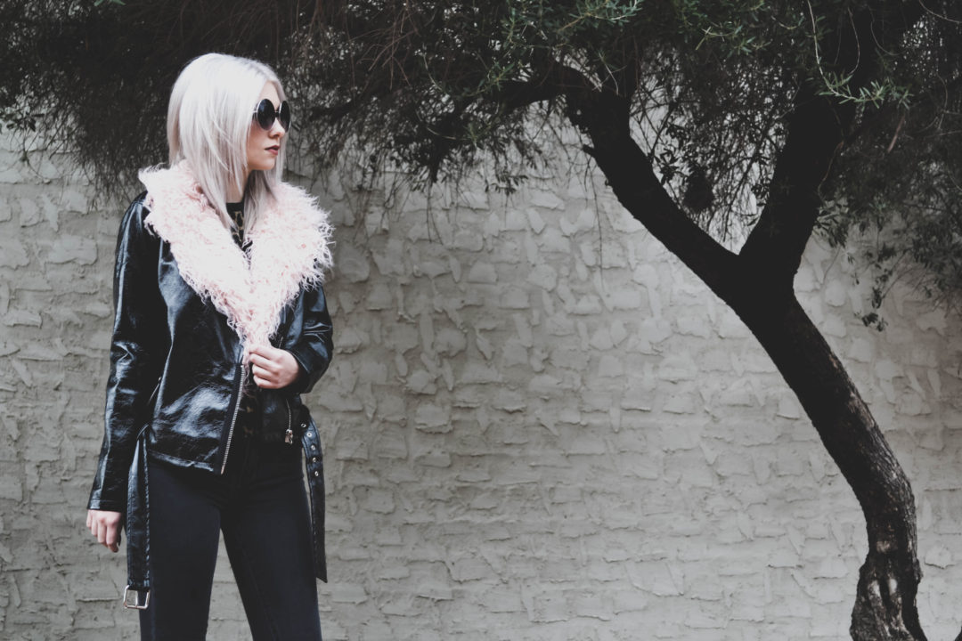 vinyl faux leather biker jacket