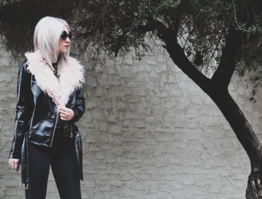 vinyl faux leather biker jacket